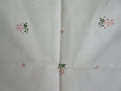 """Old Vintage Linen Parlor Table Cloth Floral Embroidered 34"""" Square"""