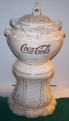 Coca Cola VICTORIAN COOKIE JAR SYRUP DISPENSER PINK w/ GOLD TRIM MINT IN BOX