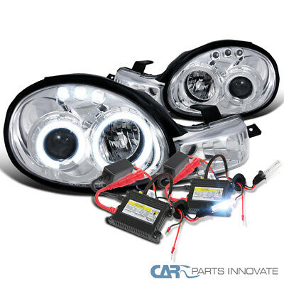 dodge neon 00-02 plymouth chrome halo led projector headlights+h1 6000k hid  kit