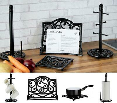 Black Cast Iron Trivet Mug Tree Kitchen Roll Holder Cookbook Recipe Book Stand