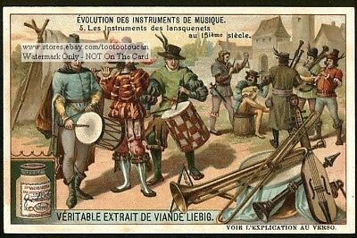 15th Century Minstrel Musical Instruments 1910 Trade Ad Card