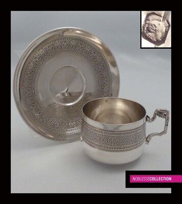 ANTIQUE 1890s FRENCH STERLING SILVER COFFEE/TEA CUP & SAUCER Minerva 950/1000