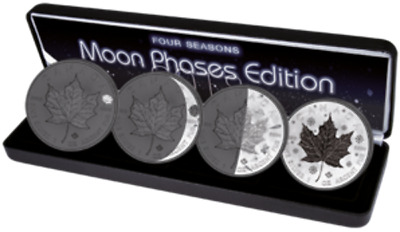 4*1oz Canada Maple Moon Phases Edition Black Ruthenium - colored 2018 pre sale