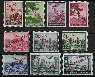 GERMAN SERBIA 1941 Jugoslavian air mail stamps overprinted, set of 10v MNH -F539