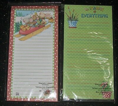 "2 Mary Engelbreit Magnetic List Pads 60 Sheets 4"" X 8"" New Pad Free Shipping!"