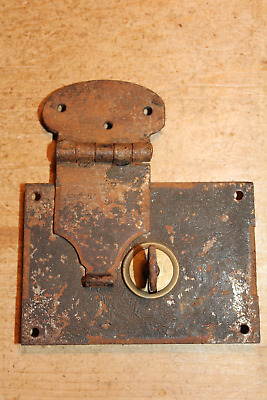 Antique Iron Lock & Key for Old Pine/Oak Blanket Box/Chest/Trunk/Coffer~
