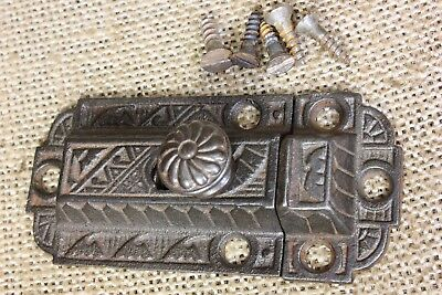 "Cabinet catch jelly Cupboard Latch rustic cast iron old vintage 3 1/8"" pinwheel"
