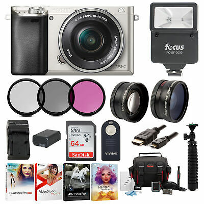 Sony Alpha a6000 24.3MP Mirrorless Camera 16-50mm 64gb Bundle