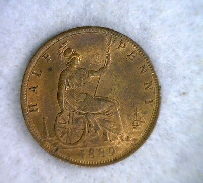 GREAT BRITAIN 1/2 PENNY 1889 CHOICE UNC BRITISH COIN (Stock# 0412)