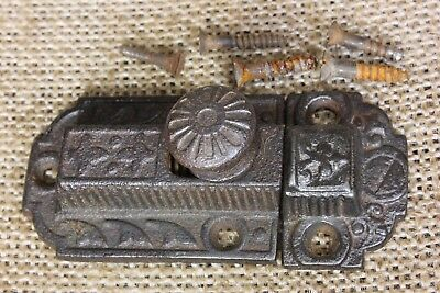 "Cabinet catch Cupboard Latch iron knob 2 5/8"" antique rustic vintage 1800's"