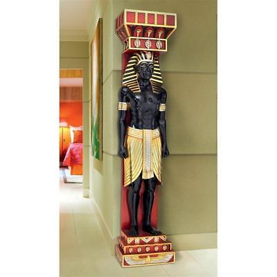 Ancient Egyptian Male Scribe Telamon Doorway Wall Sculpture Large Scale 78""