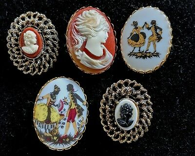 Lot of 5 Vintage Cameo Lady Head Victorian Brooch Pin Beautiful and Elegant!