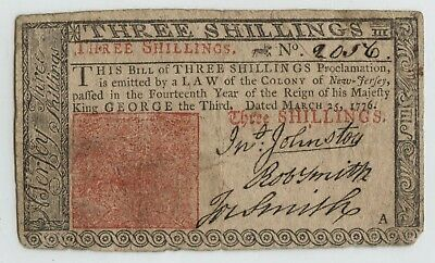 New Jersey March 25,1776 Three Shillings Bright Bold Signatures VF+ Note pinhole