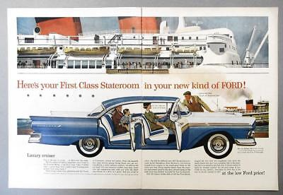 10x14 Original 1957 Ford Fairlane 500 Ad HERE'S YOUR FIRST CLASS STATEROOM