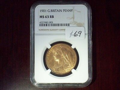1901 NGC MS 63 RD Great Britain Penny