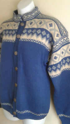 Ladies Norwegian Rogaland Nordic Sweater Wool Cardigan, Pewter buttons BLUE