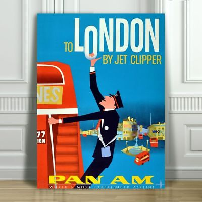 VINTAGE TRAVEL CANVAS ART PRINT POSTER - Pan Am London By Clipper Bus - 36x24""