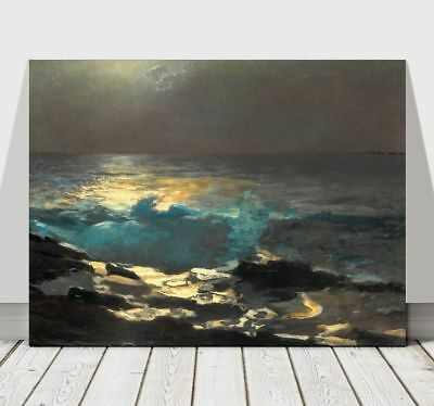 WINSLOW HOMER - Moonlight at Wood Island -CANVAS ART PRINT POSTER - Beach 36x24""