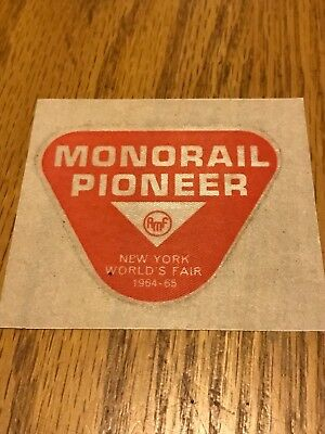 Monorail Pioneer New York World's Fair Patch 1964-65 Unused! Great Collectible!!