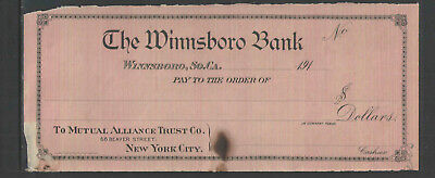 191x THE WINNSBORO BANK WINNSBORO SO CA SC ANTIQUE BANK CHECK