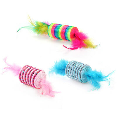 WONPET Pet Rattle Cat Toys Ball with Double Feather Ball Kitten Interactive Toy