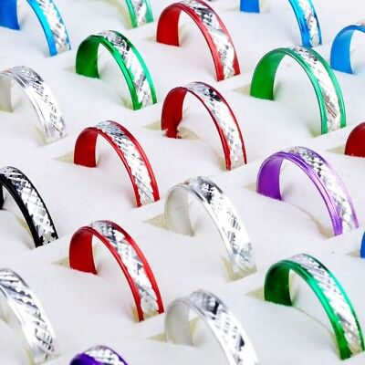 100Pcs Wholesale Jewelry Lots Bulk Mixed Coloured Style Aluminum Unisex Rings