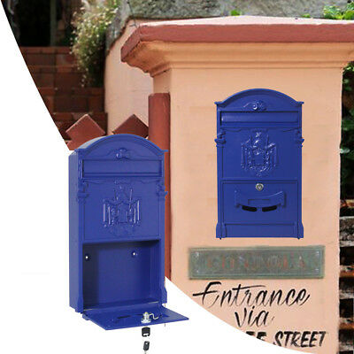Wall Mounted Vintage Retro Cast Mailbox Letter Safe Box with Keys Post Lock Box