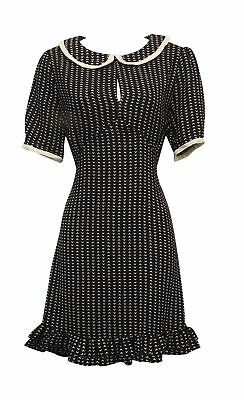 New Retro VTG 1930's 40's Style Crepe Day Dress with Peter Pan collar