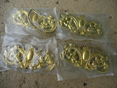 """lot of 4 victorian style brass furniture pulls 3"""" centers"""