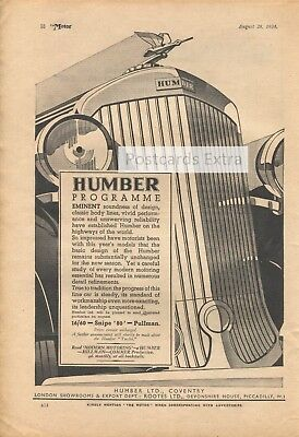 "Humber 16/60 Snipe ""80"" Pullman - car magazine advert from 1934"