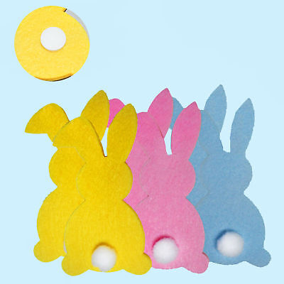Easter Arts & Craft Bonnet Decorations Egg Hunt - 6 Pack Felt Bunny Shapes