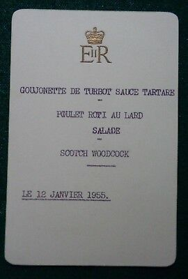 Antique Royal French Lunch Menu used by Queen Elizabeth II 12 January 1955 ERII