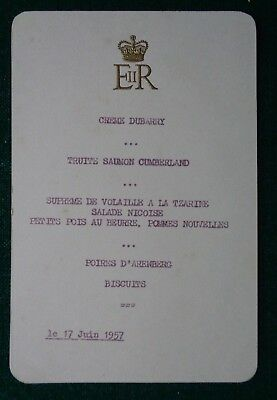 Antique Royal French Lunch Menu used by Queen Elizabeth II 17 June 1957 ERII