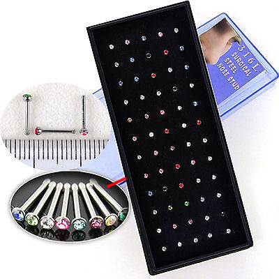 60pc Surgical Steel Small Thin Gem Crystal Screw Nose Stud Ring Bar Piercing