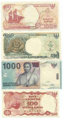 Indonesia set of 4 Banknotes Mint Uncirculated 1984 to 2000 - #1 02