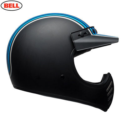Bell Cruiser 2018 Moto 3 Retro Motorcycle Helmet Stripes Silver/Black/Blue SR