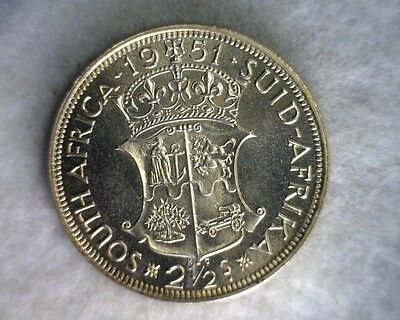 SOUTH AFRICA 2-1/2 SHILLINGS 1951 GEM PROOF SILVER  (stock# 0018)