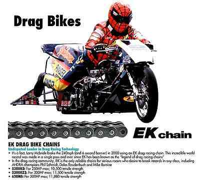 EK 530 DRZ2 Chrome Drag Racing Chain 140 Links
