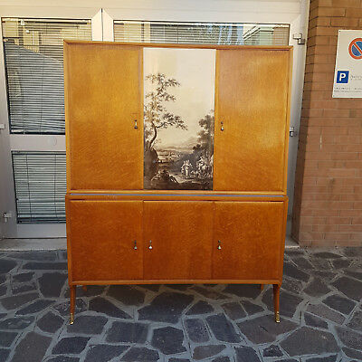 Vintage Sideboard Bookcase In Maple With Print Decoration 1950