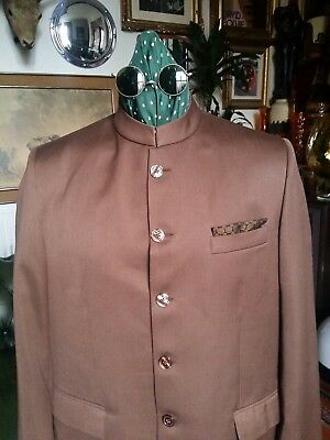 Vintage 60s RAYMOND Beatle Gallagher Lennon McCartney Colarless Mod Jacket.Large