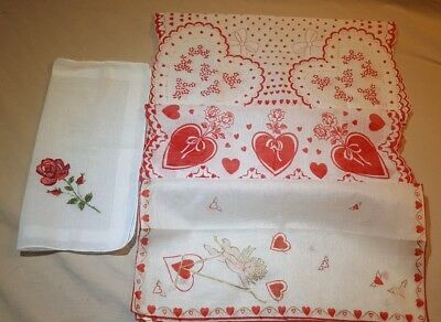 Lot Of 4 Vintage Valentine Hankies Scalloped Edges Cupids Hearts Roses