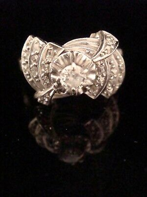 Stunning French Edwardian Art Deco Platinum Old Cut Diamond Cluster Ring