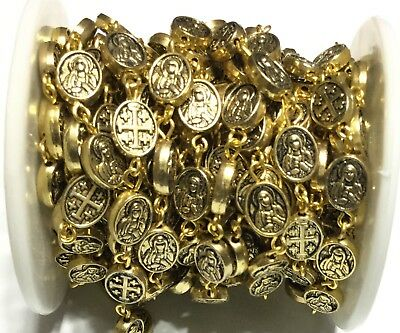 1Yard  Antique Gold Virgin Mary Cross Rosary Chain- Beading Supplies