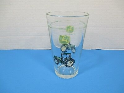 John Deere Pint Glass Cup with Tractor and Logo Collectible Gift VS16