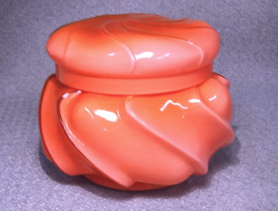 1961 Fenton Glass CORAL Cased Wave Crest Puff Candy Box -Ltd Production