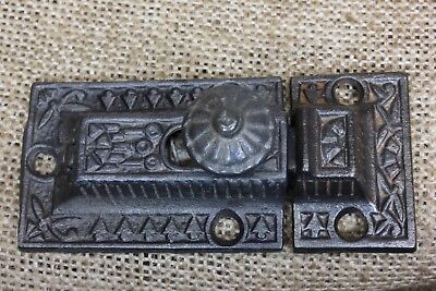 "Cabinet catch Cupboard Latch knob antique rustic cast iron Windsor 3"" vintage"