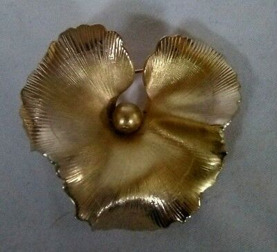 Stunning Vintage Estate Signed Giovanni Gold Lily Pad Pin Brooch