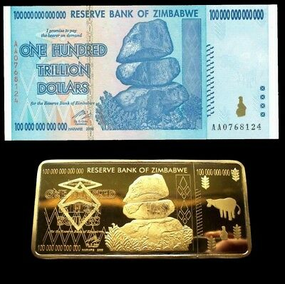 Zimbabwe 100 Trillion Dollars Banknote and 24K Gold Plated Bar Ingot  (Zm1GN)