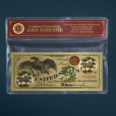 24K Gold Foil Plated 1863 $100 Gold Banknote Novelty Dollar With/coa