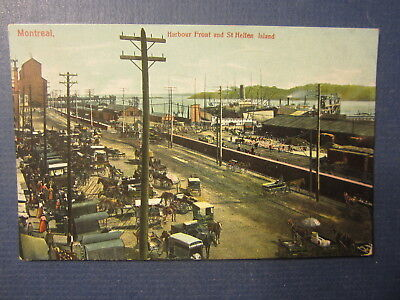 Old c.1910 MONTREAL Canada - Harbour Front & St. Hellen Island SHIPS POSTCARD